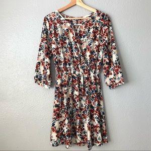 Lush Multi Colored Short Floral Wrap Dress